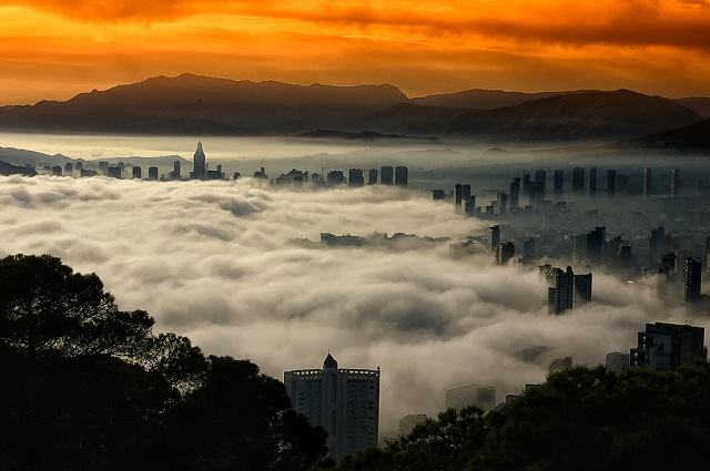 Fog in Benidorm