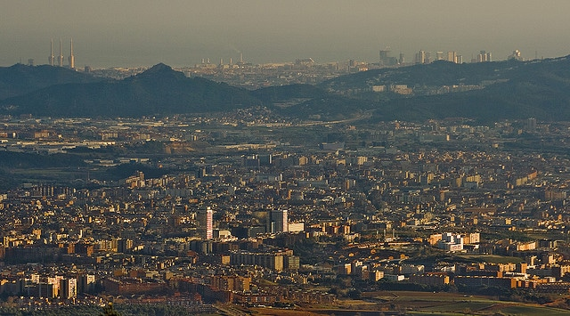 Distant view of Barcelona