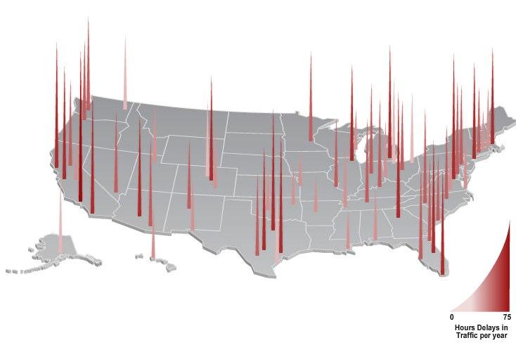 Hours Delays in Traffic per year
