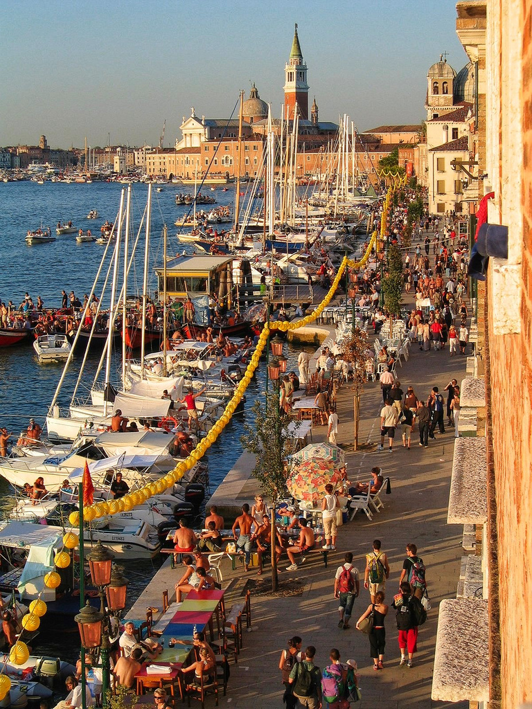 Preparations for the Festival of the Redeemer (Festa del Redentore), Venice.