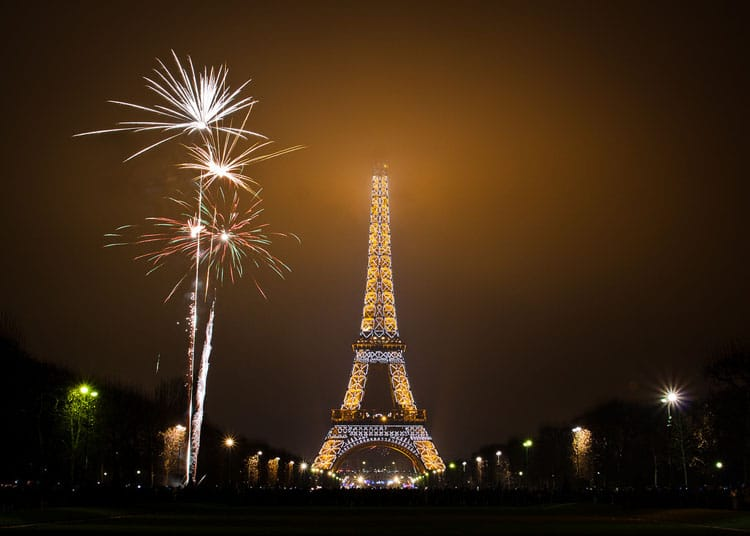new year at eiffel tower paris france