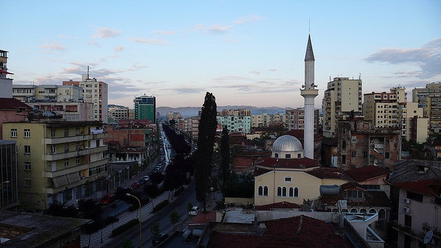 ALBANIA-TIRANA view from my room on mosque and principal center city streeton
