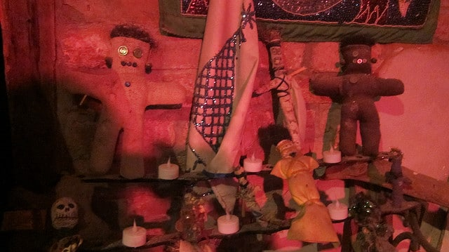 Odd shrines and shrunken heads at the New Orleans Historic Voodoo Museum.