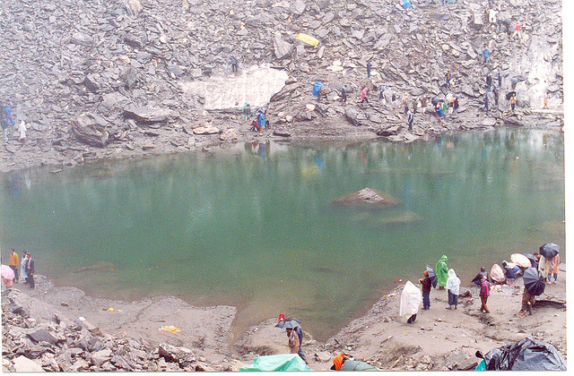 Full view of lake of Roopkund, situated at an altd. of 5029 mts.