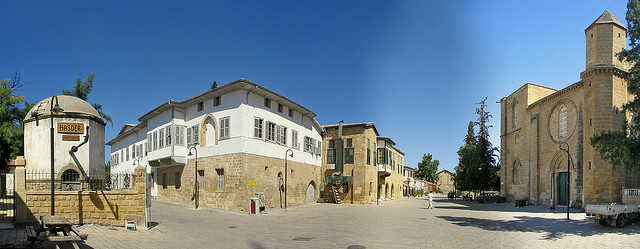 St. Sophia Cathedral Square Wider Angle (Nicosia, North Cyprus)
