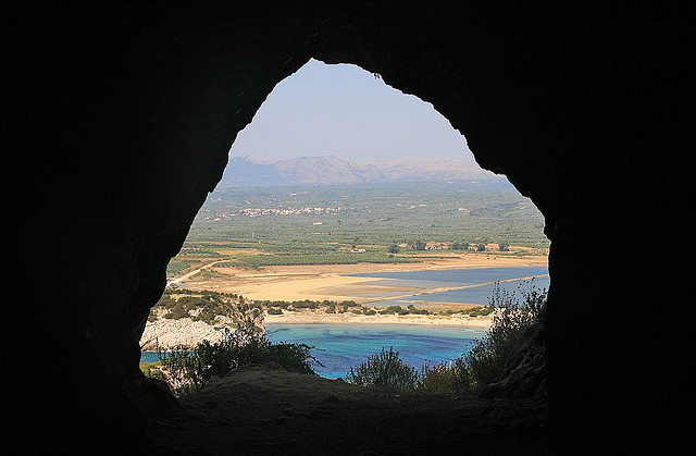 Cave over Voidokilia beach