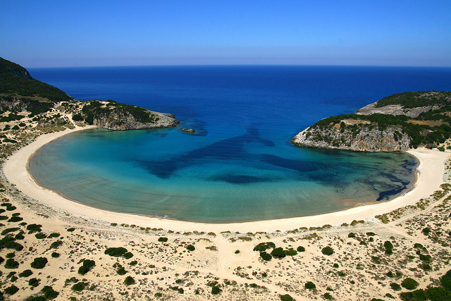 Voidokilia Beach is a popular beach in Messinia in the Mediterranean area