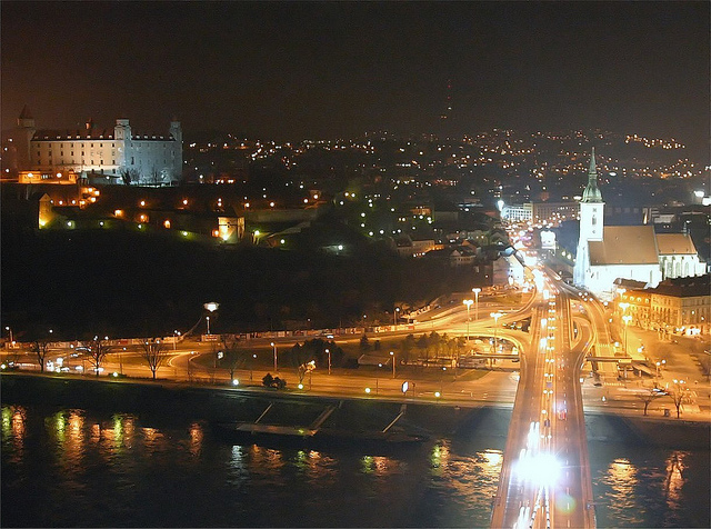 The view from the top of the Nový Most bridge from the UFO restaurant