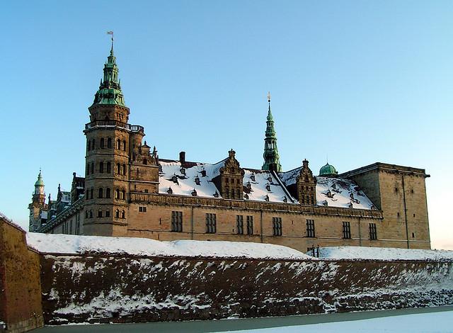Kronborg Castle in Elsinore, Denmark, viewed from the west.