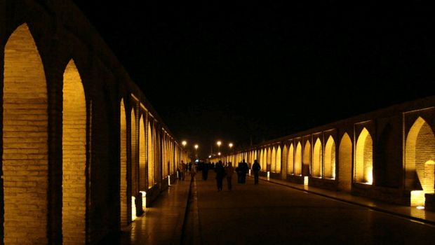 Bridge of 33 arches of Isfahan, night view