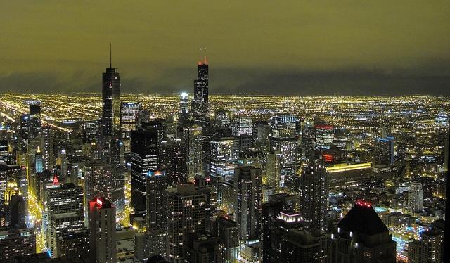 Chicago Loop at night