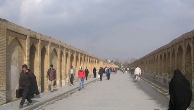 Walking on Bridge of 33 arches of Isfahan