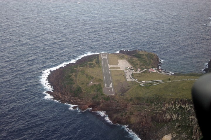 Airport of the Saba Island from above