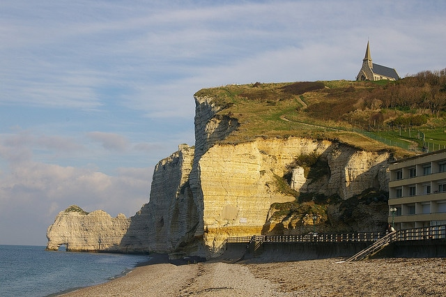 Etretat beach and the chapel on the cliff