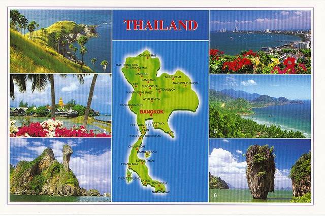 Thailand Pictorial Map Postcard