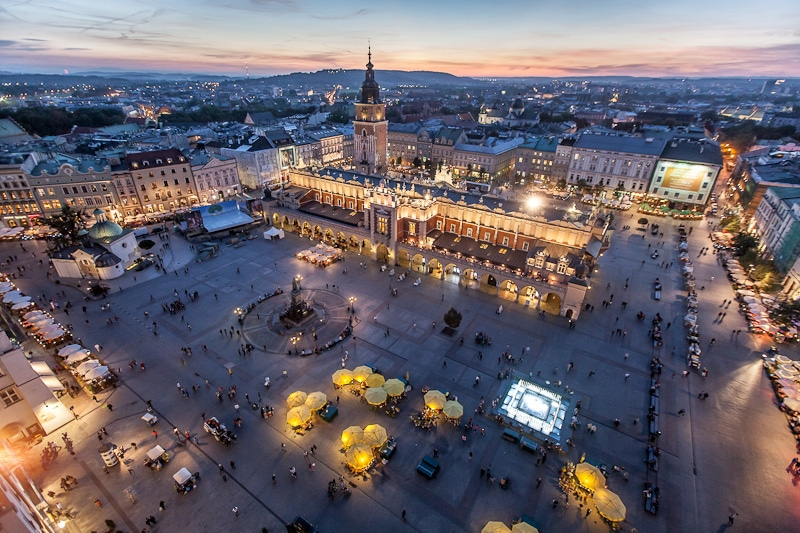 Main Market Square in Krakow seen from St. Mary's Basilica.