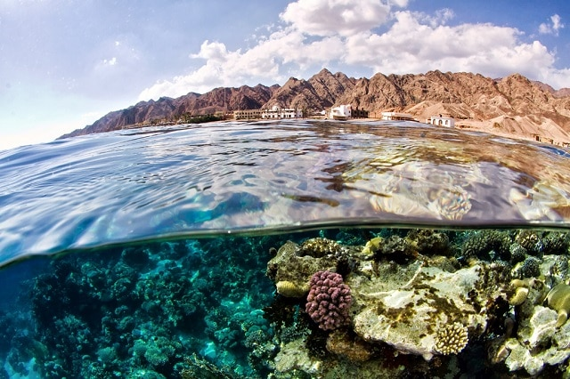 Over-under taken at Canyon in Dahab Egypt while freediving