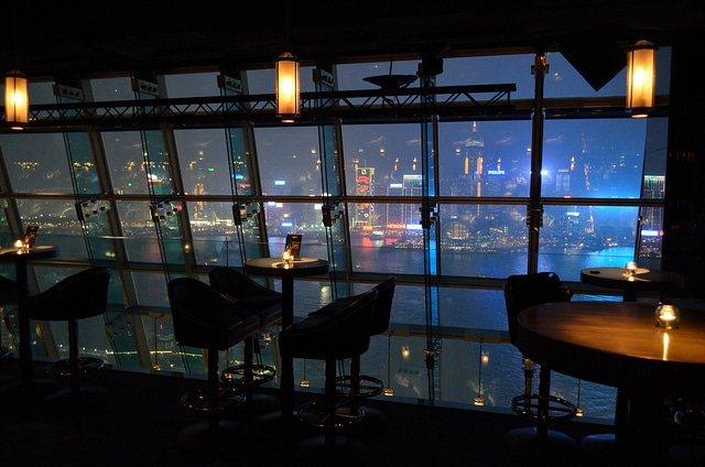 View over Victoria Harbour Hong Kong from AQUA Spirit bar