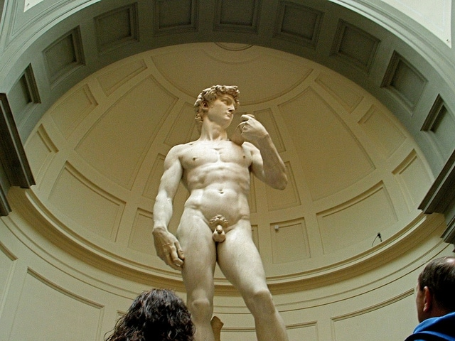 Michelangelo's original David housed in the Galleria dall'Accademia