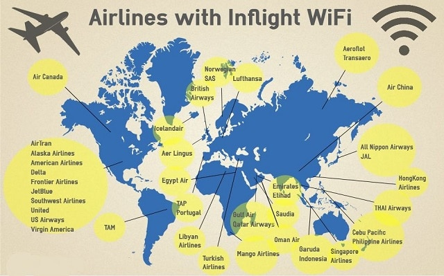 Map of airlines with inflight WiFi