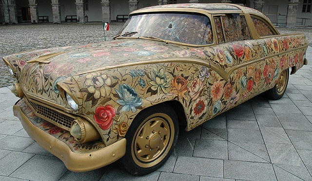 1955 Ford Victoria covered with Ayate fabric and oil painted at IMMA