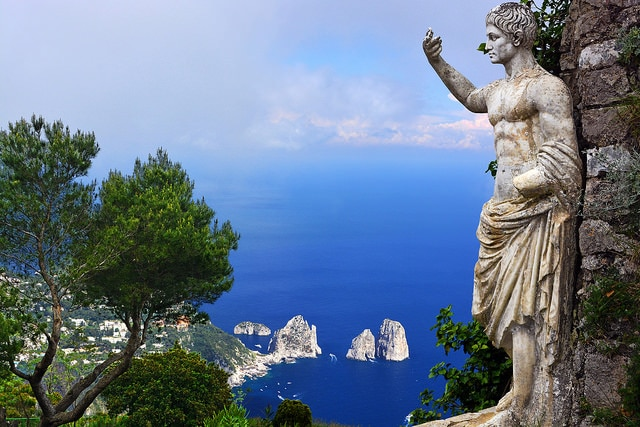 Statue of Augustus and Faraglioni rocks from Monte Solaro