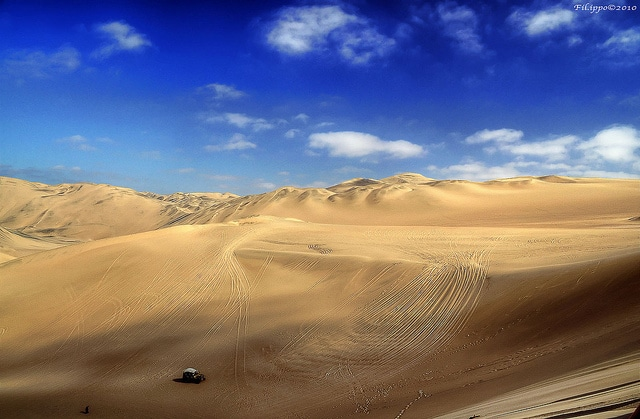 The desert of Huacachina, with the highest sand dunes in the world