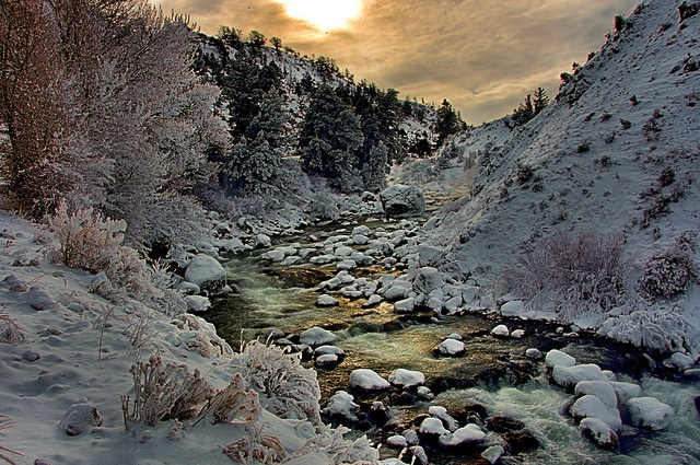 Boiling River Canyon in winter