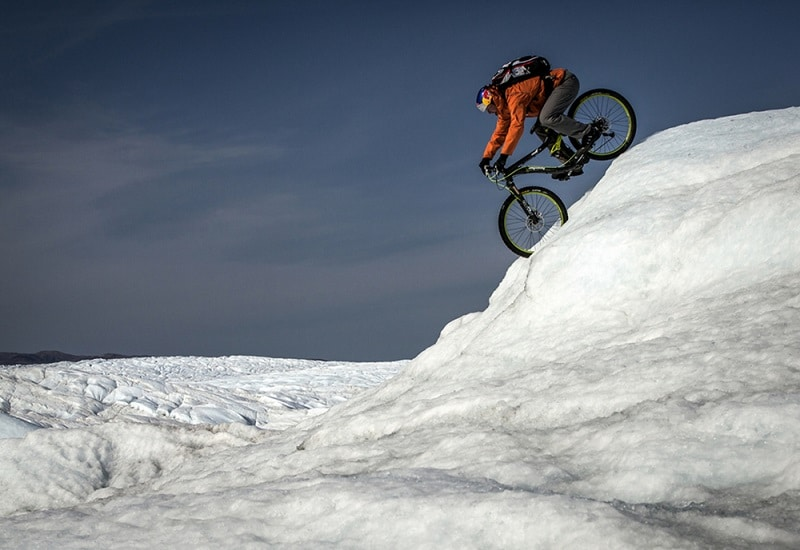 cycling-on-a-glacier