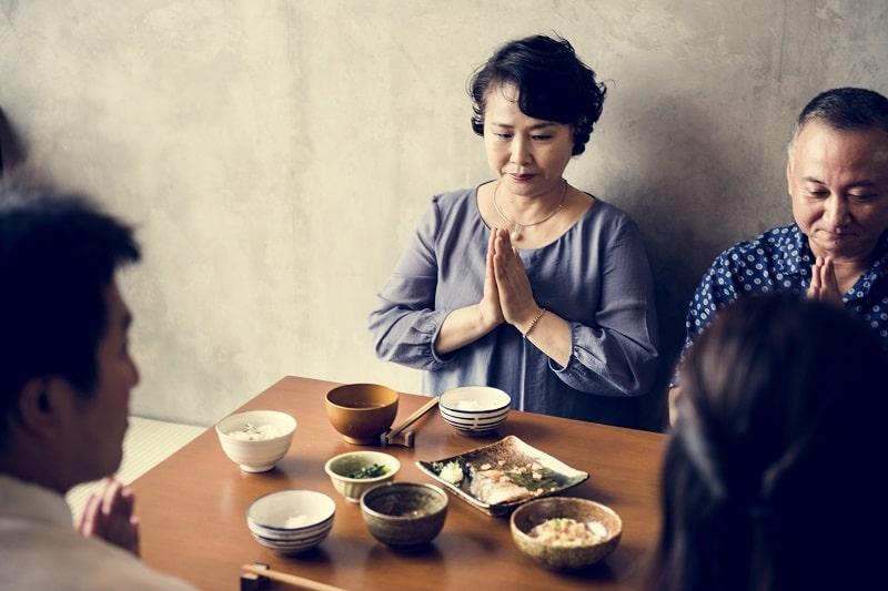 Japanese family eating