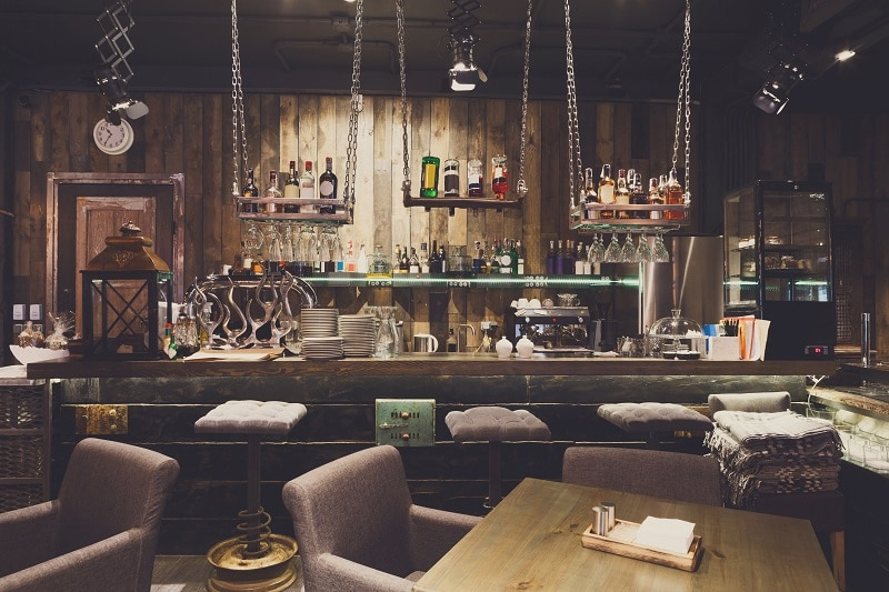 Interior of cozy restaurant, loft style