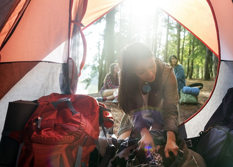 Girl Traveling Destination Camping Concept