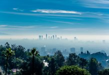 Los Angeles misty skyline, California, USA