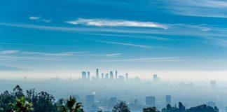 Los Angeles misty skyline, California, USA