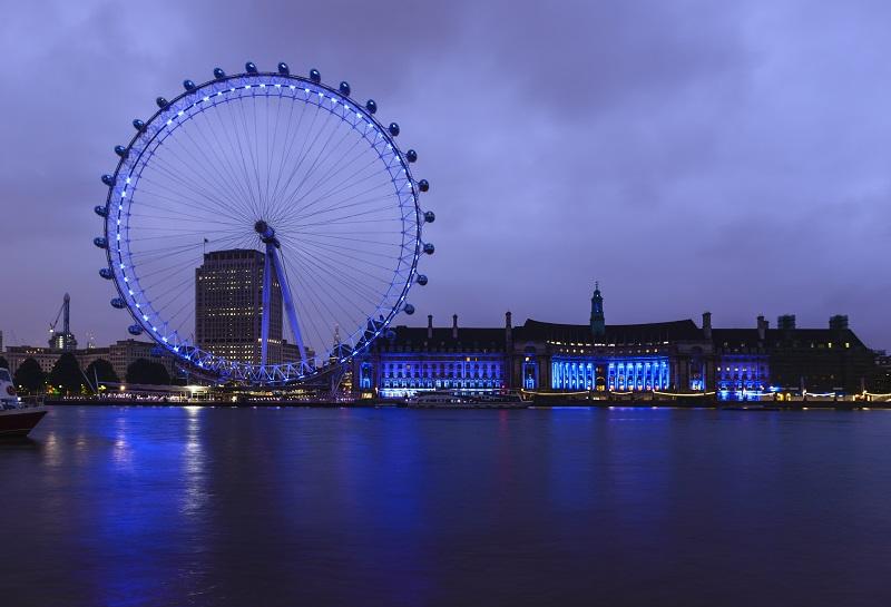 London Eye, London, United Kingdom,London Eye and waterfront lit up at night, London, United Kingdom