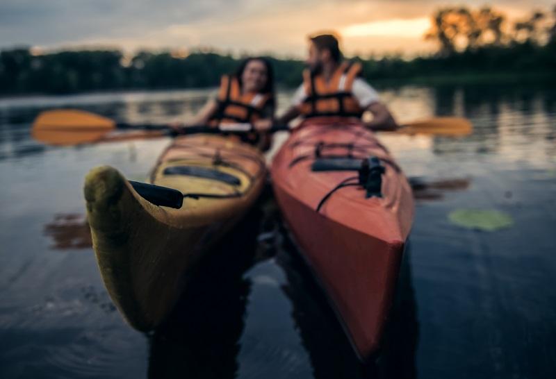 Couple traveling in kayak