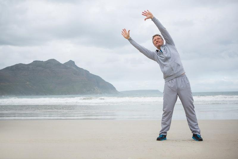 Man performing stretching exercises