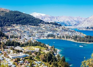 Queenstown View on a Sunny Day in New Zealand