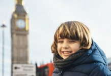 Smiling child on holidays in London