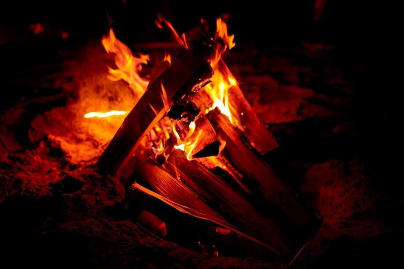 Burning campfire outdoors