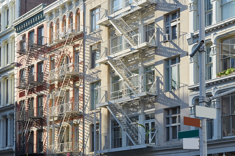 New York, cast iron architecture buildings in Soho in a sunny mo