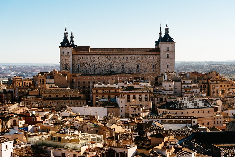 Cityscape of historic centre of Toledo, Spain, and El Alcazar palace