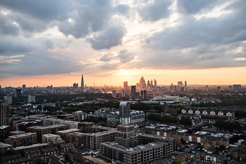 A sunset over a skyline of London.