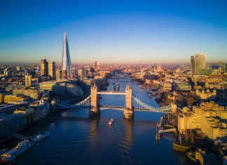 Aerial view of London and the Tower Bridge
