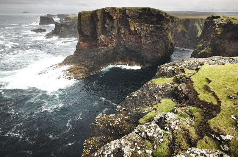 Scottish coastline landscape in Shetland islands. Scotland. UK