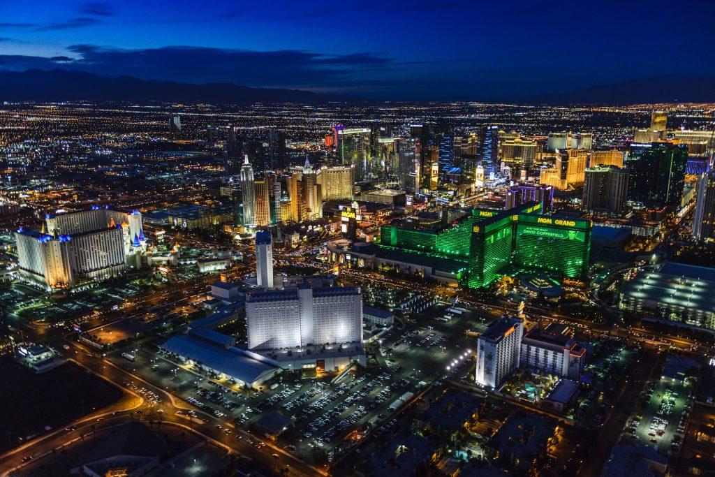 Las Vegas, Nevada, USA,Aerial view of Las Vegas cityscape lit up at night, Las Vegas, Nevada, United States
