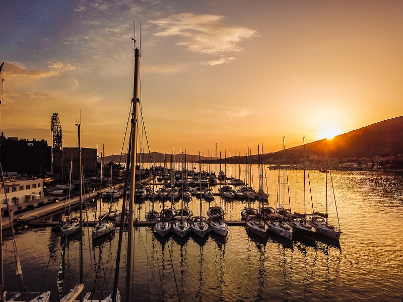 Aerial view, sailing yachts, motor yachts, Croatia. Sunset