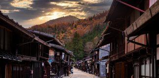 Narai-juku, Japan. Picturesque view of old Japanese town