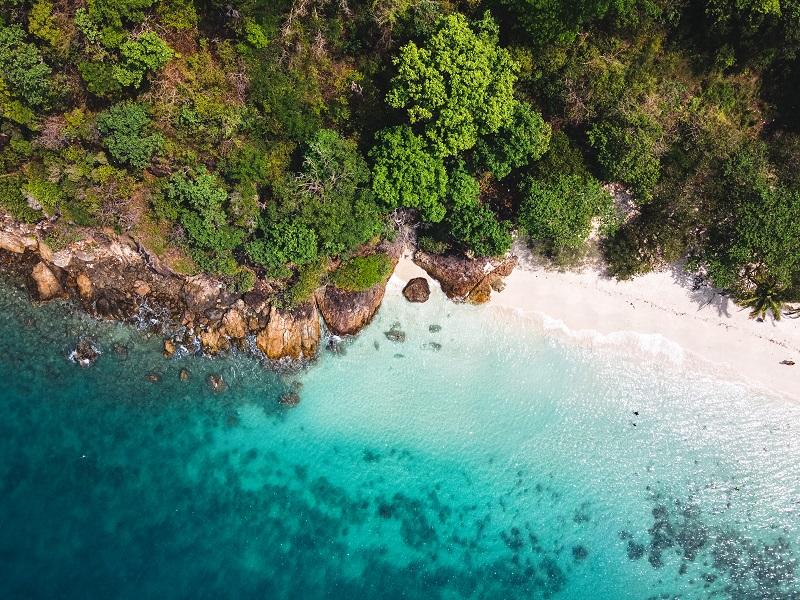 Sea view, beach on the island, tropical sea island