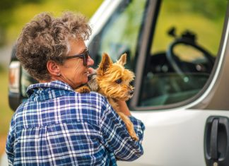 Woman Traveling with Pet